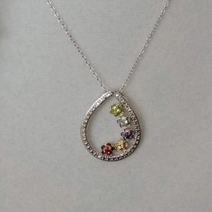 Jewelry - Multi-Gem Sterling Floral Pendent